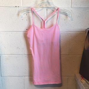 Lululemon pink stripe power Y tank sz 4 59390